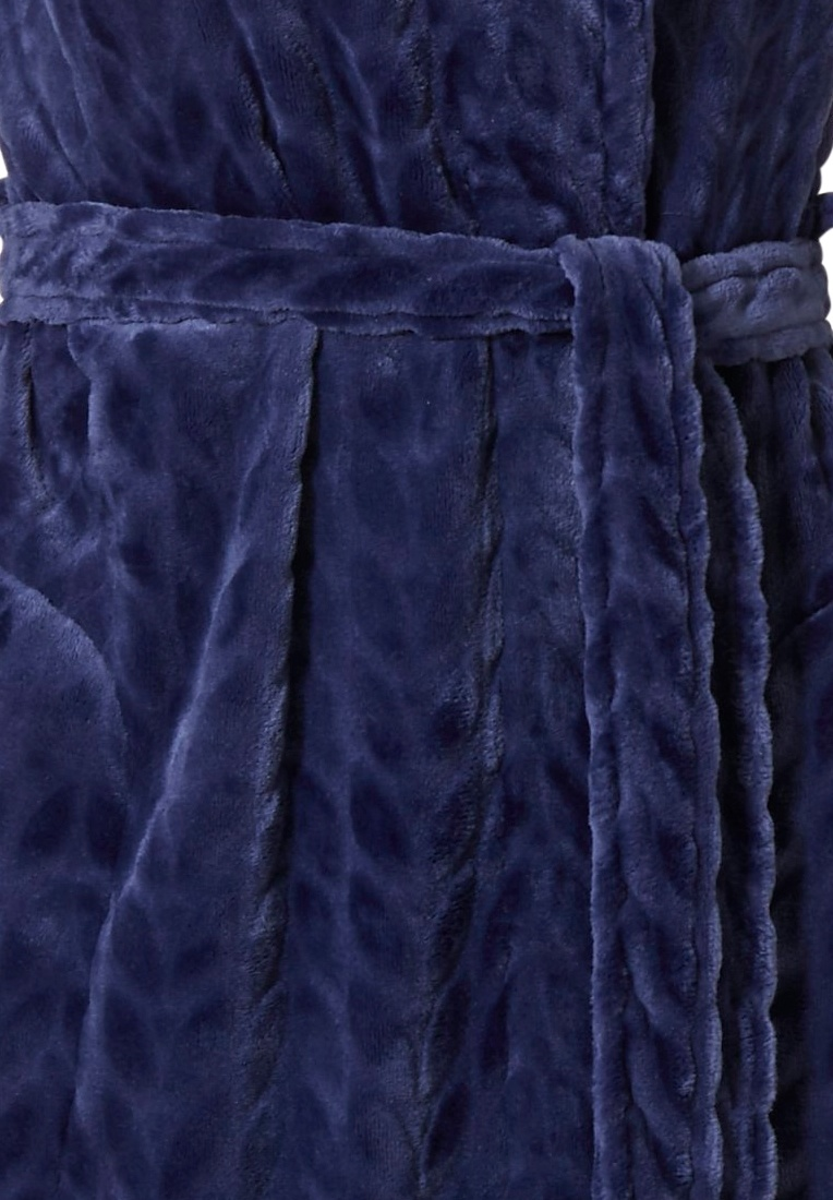Pastunette 'dewdrop petals' midnight blue embossed, soft fleece wrap-over morninggown with shawl collar, belt and two pockets