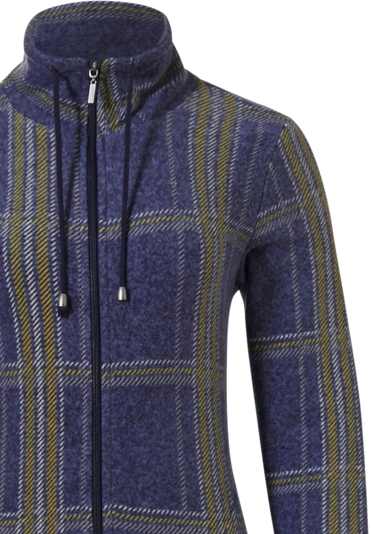 Rebelle 'trendy chunky checks' dark denim blue, white & mustard yellow long sleeve fashionable fleecy home lounge set with zip cuff, all over 'trendy chunky checks' pattern and long dark blue cotton-mix pants