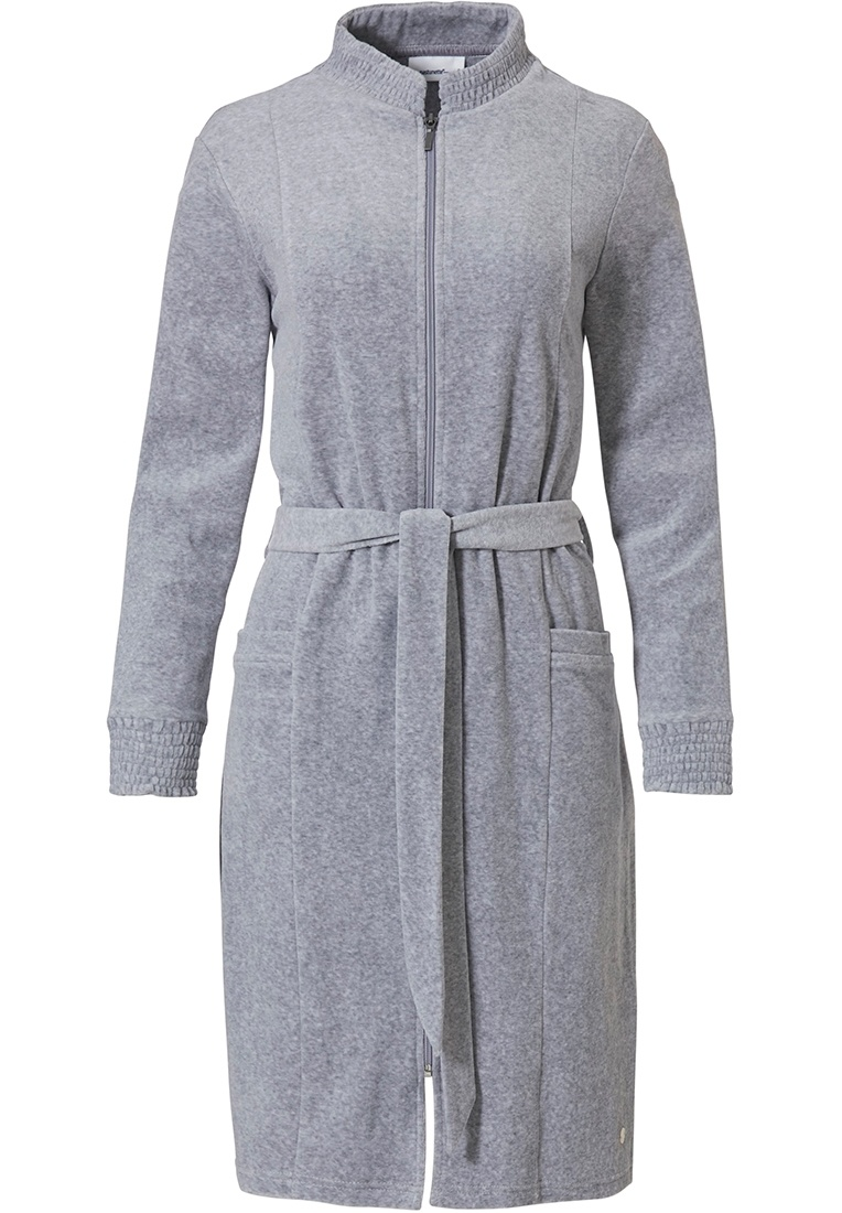 Pastunette 'grey comfort' grey velvet morninggown with full zip, belt, detailed collar, cuffs and two pockets