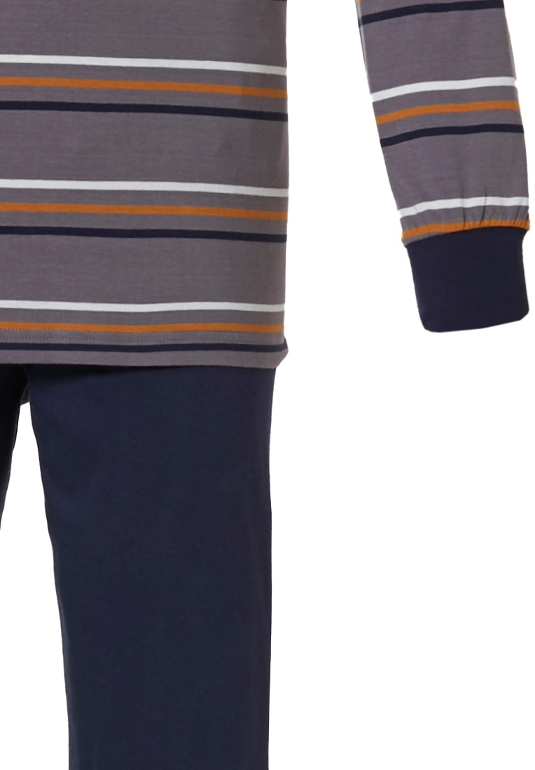 Pastunette for Men 'broad lines' white, orange, brown & grey mens 100% cotton long sleeve pyjama set with buttons, chest pocket, 'broad lines' stripes pattern and long dark brwon pants