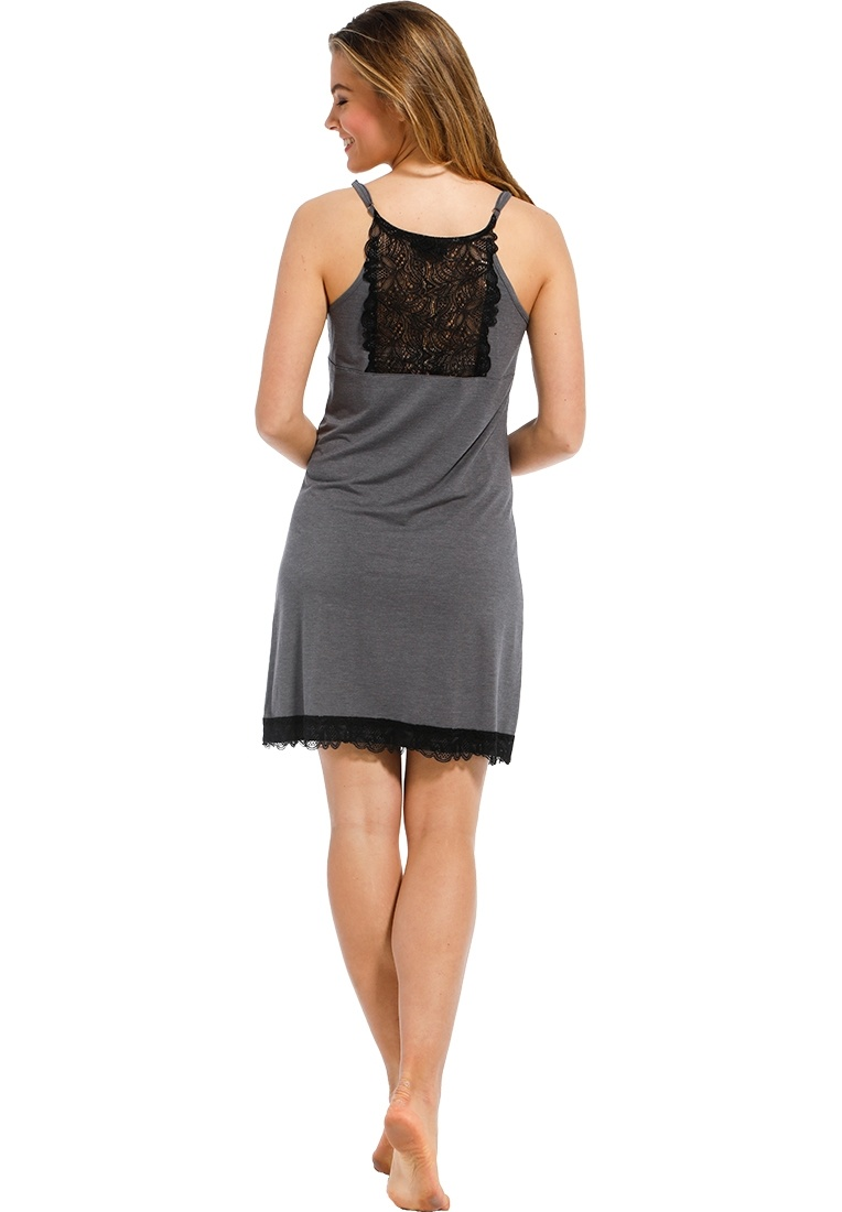 Pastunette Deluxe 'chic elegant lace luxury' grey & dark grey luxury spaghetti nightdress with adjustable straps and pretty leaves patterned dark grey lace trimmings on top, hem and back panel