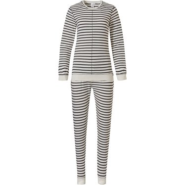 Rebelle 'trendy lines' ivory & dark grey long sleeve pyjama with in fashion 'trendy lines' design and matching long pants with elasticated tie-waist and cuffs