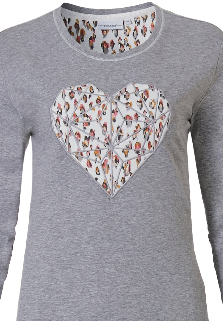 Pastunette 'diamond heart' grey long sleeve ladies pyjama set with with a pretty 'diamond heart' picture on the front and long patterned pants