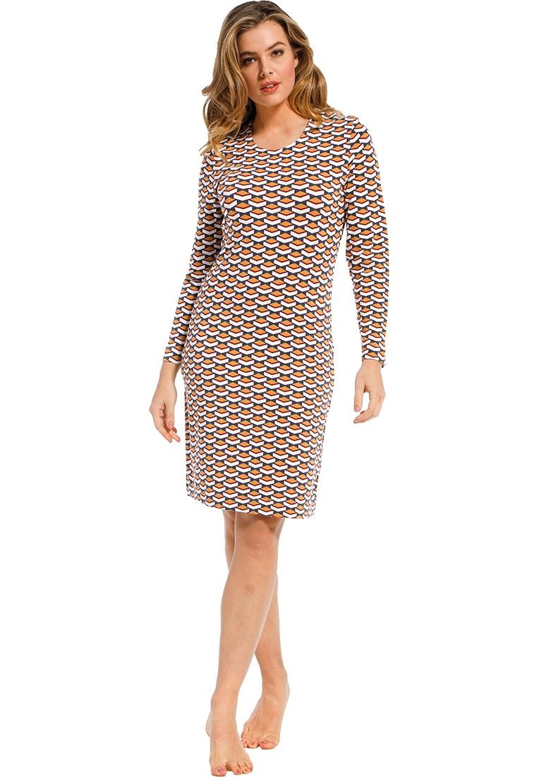 Pastunette Deluxe 'geometric macro art' orange ochre, blue & white long sleeve nightdress with classy all over 'geometric macro art' pattern