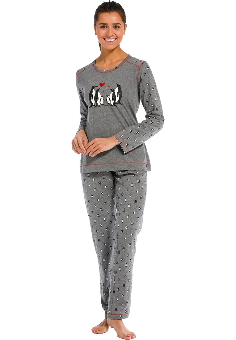 Rebelle 'penguin family love ♥' dark grey, black & white long sleeve pyjama set with a family of cute penguins picture and long 'happy little penguins'print pants