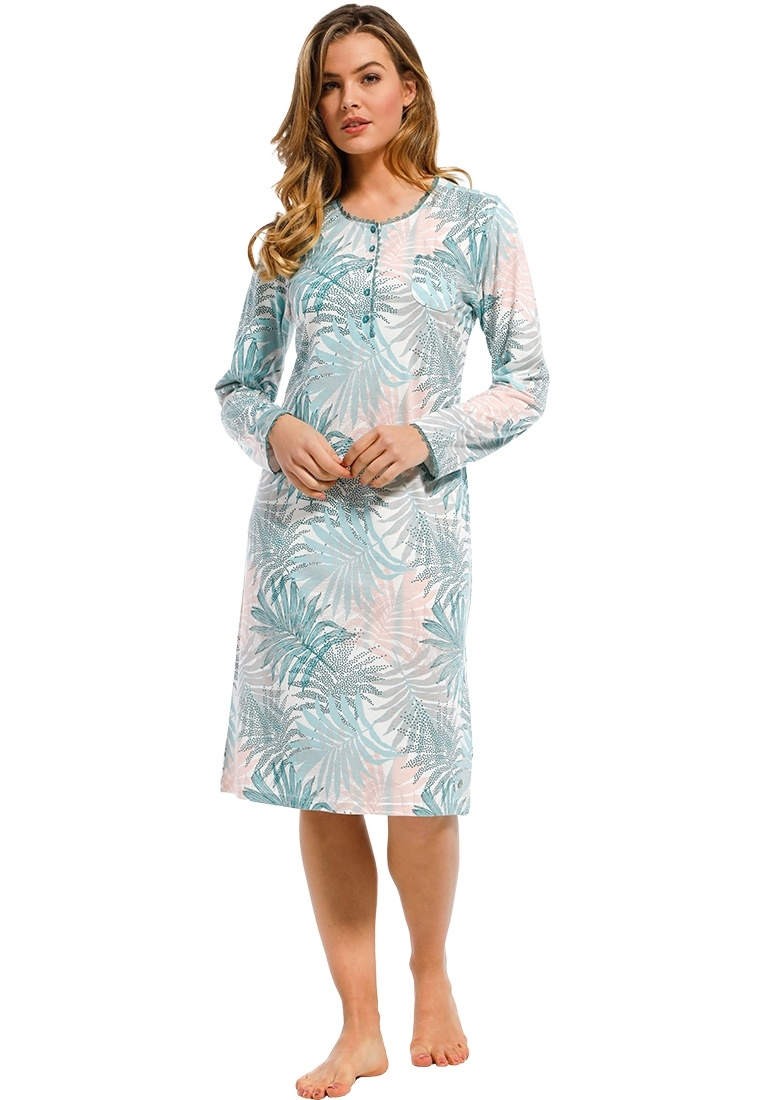 Pastunette Deluxe 'pretty green leaves' green, pale blue & pastel pink ladies long sleeve cotton-modal nightdress with buttons and pretty trim