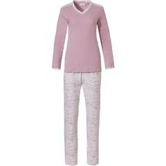 Pastunette pink 'v' neck cotton interlock pyjama set 'feminine animal magic'