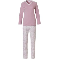 Pastunette roze , katoen interlock pyjama met V-hals 'feminine animal magic'