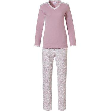 Pastunette 'feminine animal magic' sneeuwwit & zachtroze katoen interlock dames pyjama met lange mouwen, v-hals en bijpassende lange broek