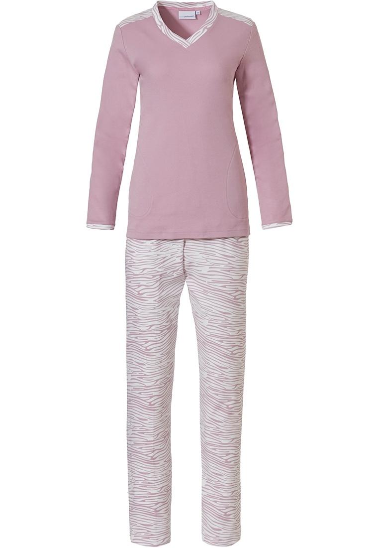 Pastunette 'feminine animal magic' snow-white & soft pink long sleeve cotton interlock ladies pyjama set with 'v'neck and long patterned pants