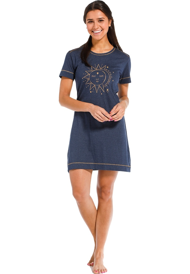 Rebelle 'moon of love' dark blue & yellow gold short sleeve nightdress with mystic 'moon of love' picture on the front