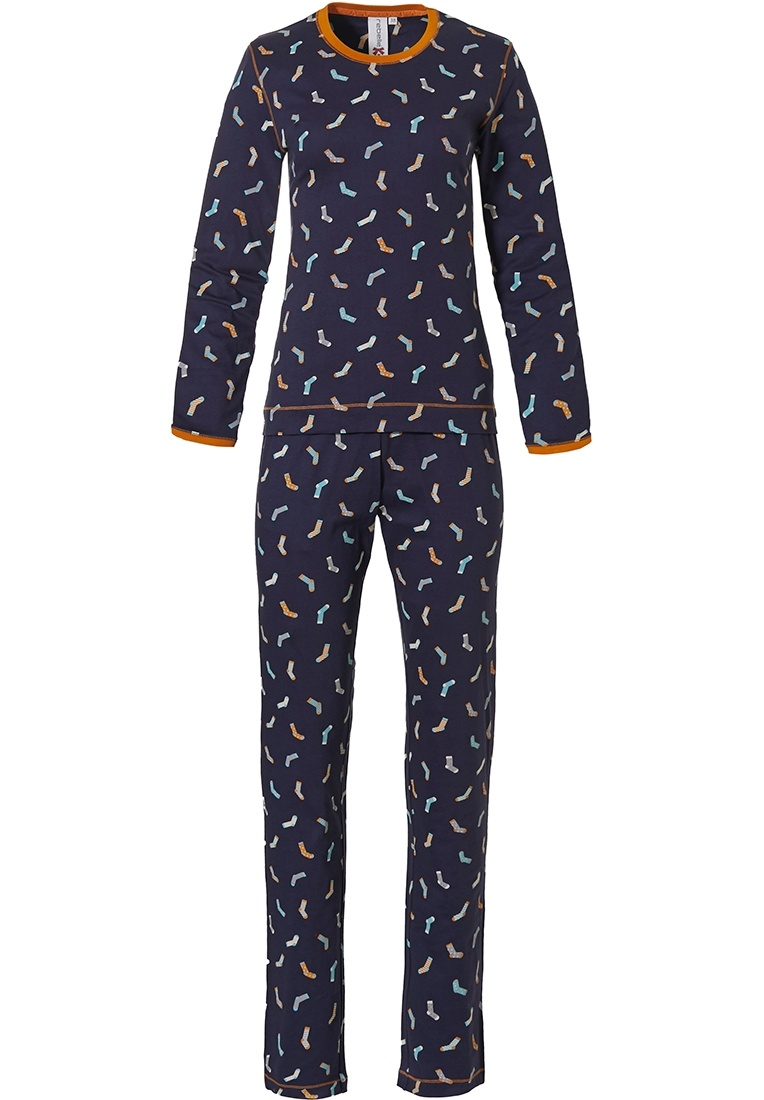 Rebelle 'crazy socks' dark blue, orange & turquoise long sleeve cotton pyjama with all over 'crazy socks' pattern and long matching pants