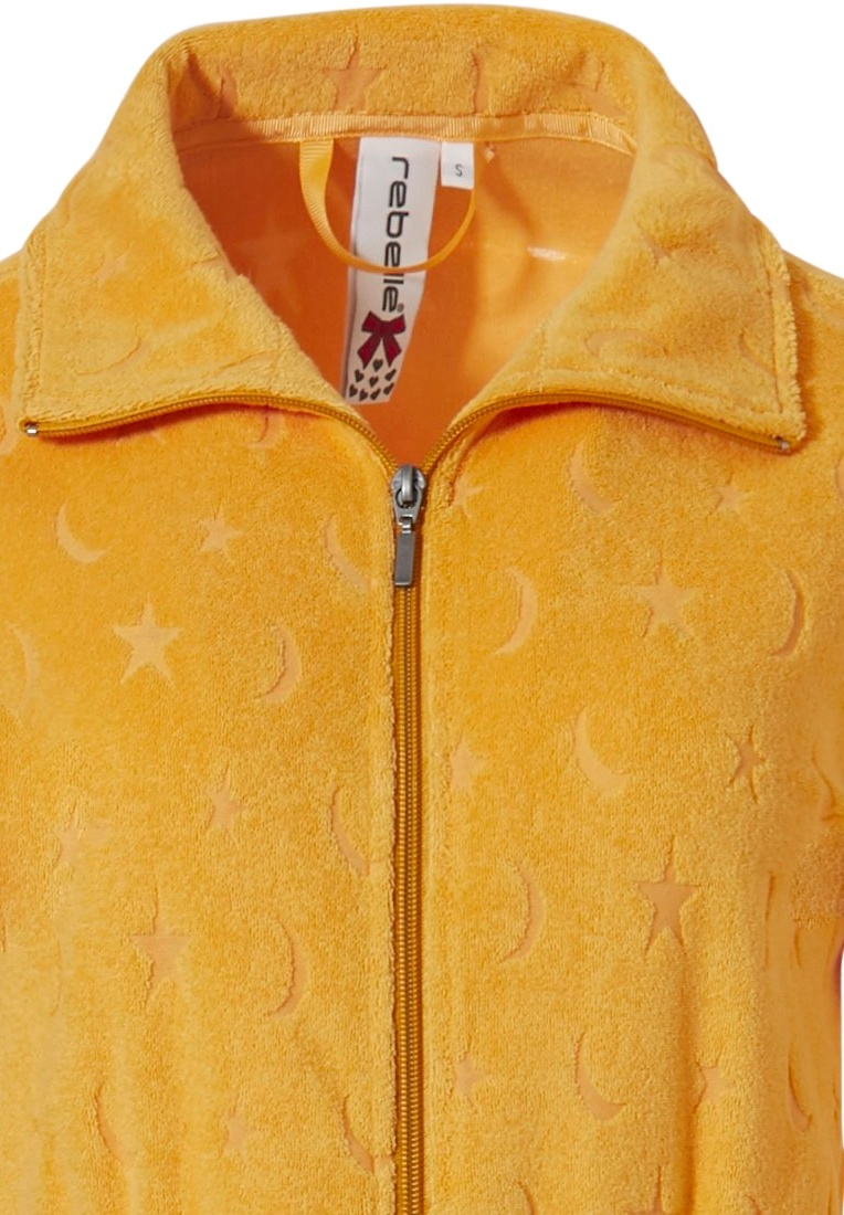 Rebelle 'moon & stars yellow dressinggown with collar, full zip, belt and all over 'moon & stars' embossed pattern
