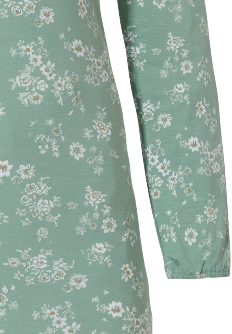 Pastunette Deluxe 'sweet little flowers' pale jade green & off-white long sleeve 95% modal nightdress with a pretty front loop hole and all over 'sweet little flowers'