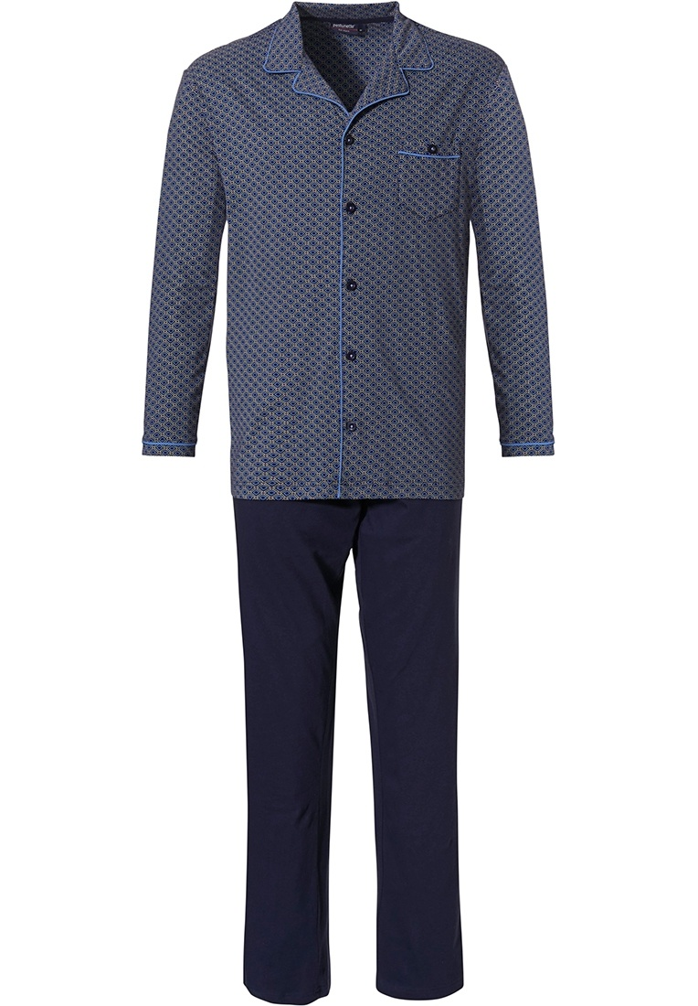 Pastunette for Men 'dynamic squares' mid blue & dark blue mens trendy patterned long sleeve 100% cotton full button pyjama set with revere collar, chest pocket, a modern all over 'dynamic squares' pattern and long dark blue pants