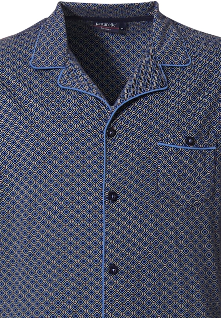 Pastunette for Men katoenen heren doorknoop pyjama set 'dynamic squares'