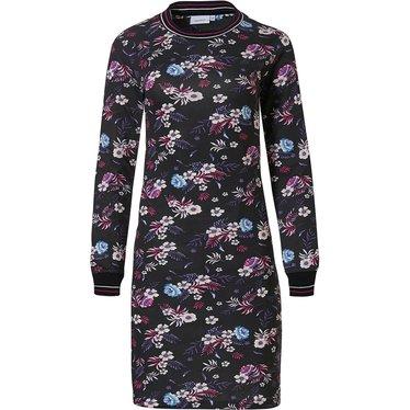 Pastunette 'Winter floral passion' zwart, rood & blauw dames nachthemd van katoen-modal met lange mouwen en geribde halslijn en boorden