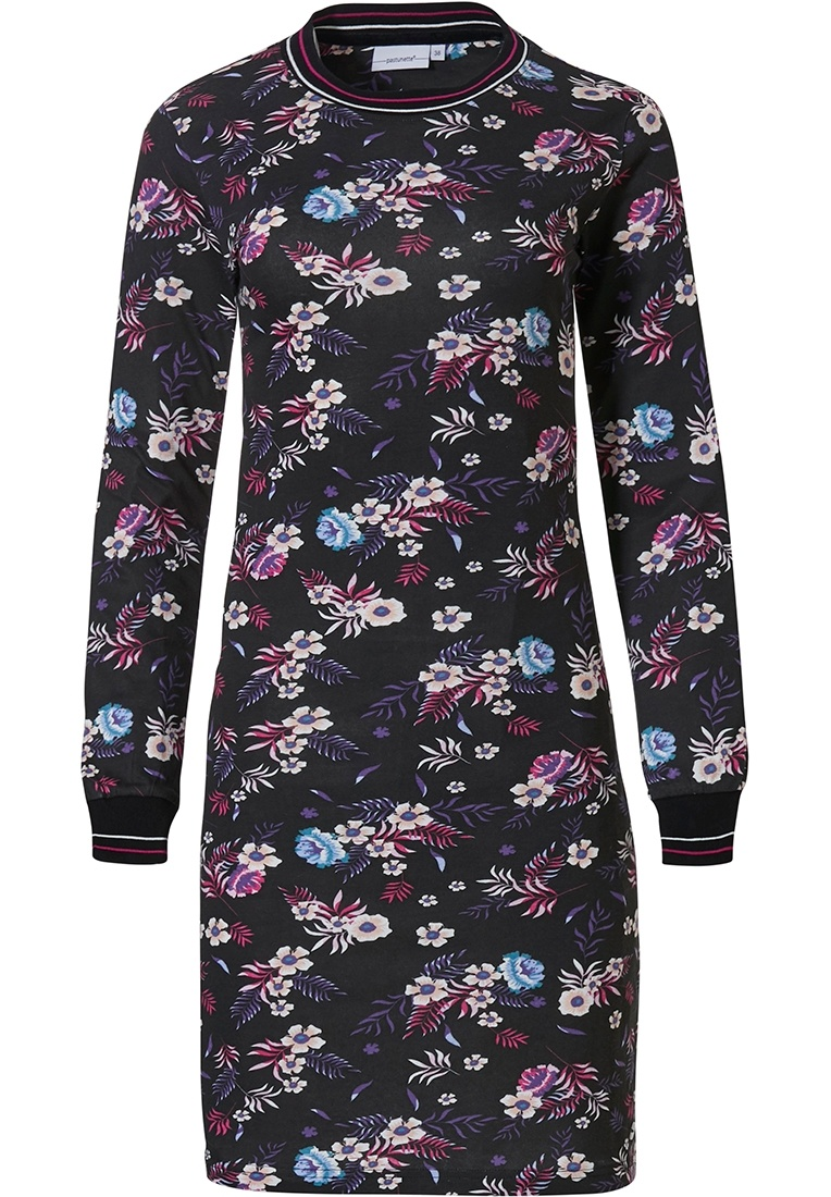 Pastunette 'Winter floral passion' black, red & blue long sleeve ladies cotton-modal nightdress with ribbed neckline and cuffs
