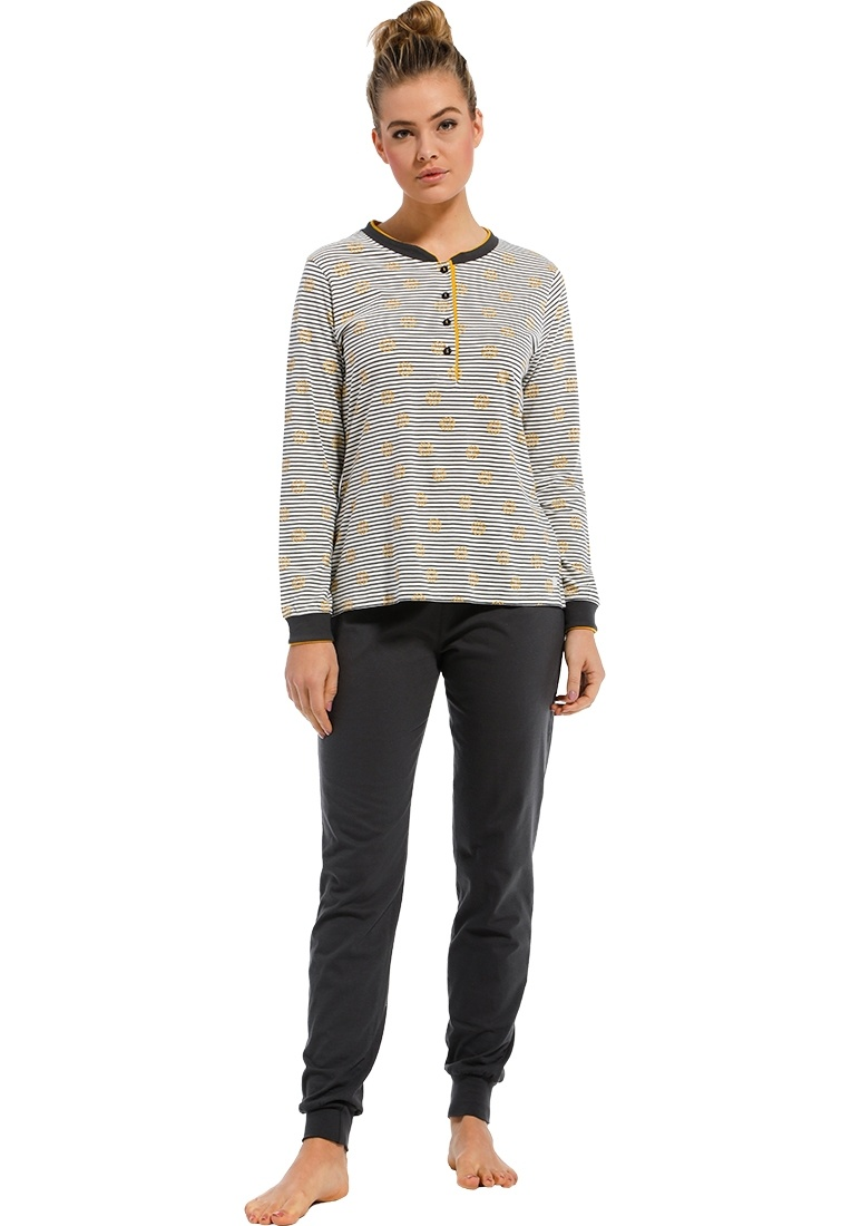 Pastunette 'abstract wishy flower' off white, mustard yellow & dark grey long sleeve fine stripes ladies cotton pyjama set with buttons, cuffs, cute all over 'abstract wishy flower' and long dark grey cuffed pants