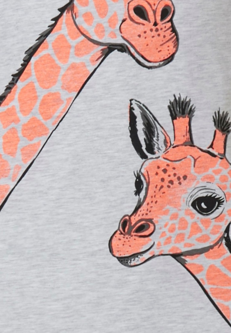 Rebelle 'Gilly giraffe' grey & orange long sleeve nightdress with your favourite 'Gilly giraffe' on the front