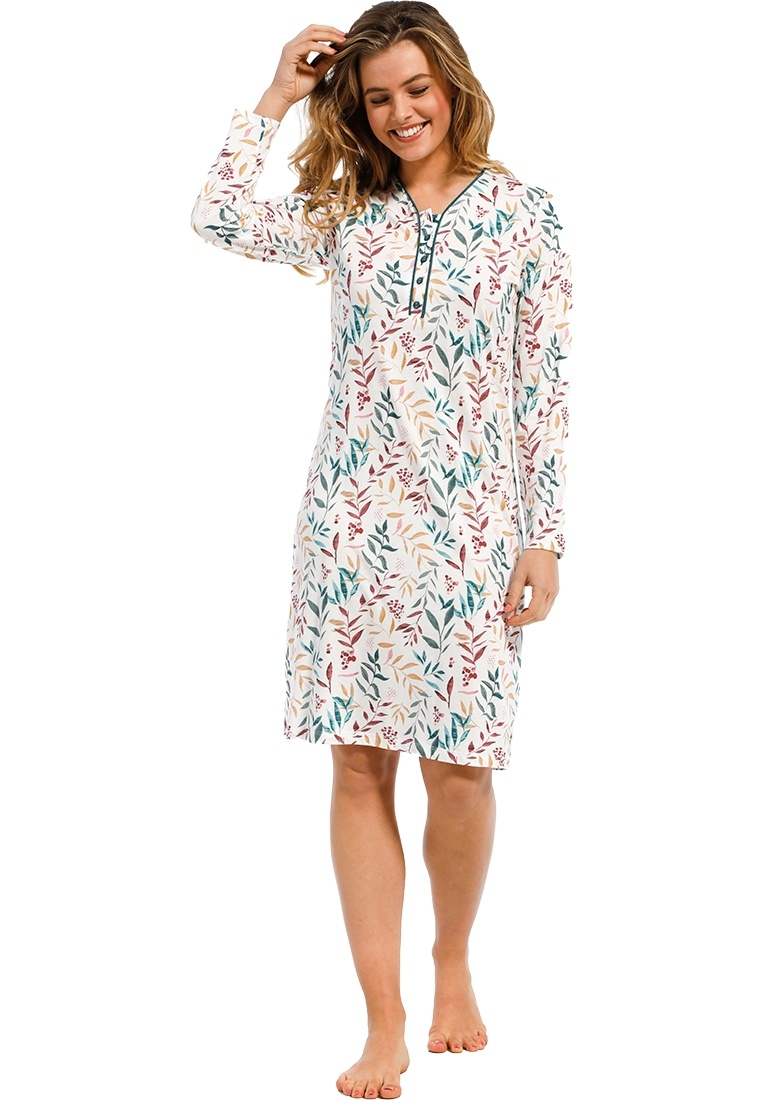 Pastunette Deluxe 'pretty little leaves' red, green & yellow cotton-modal ladies long sleeve 'v' neck nightdress with buttons and a beautiful all over pattern of 'pretty little leaves'