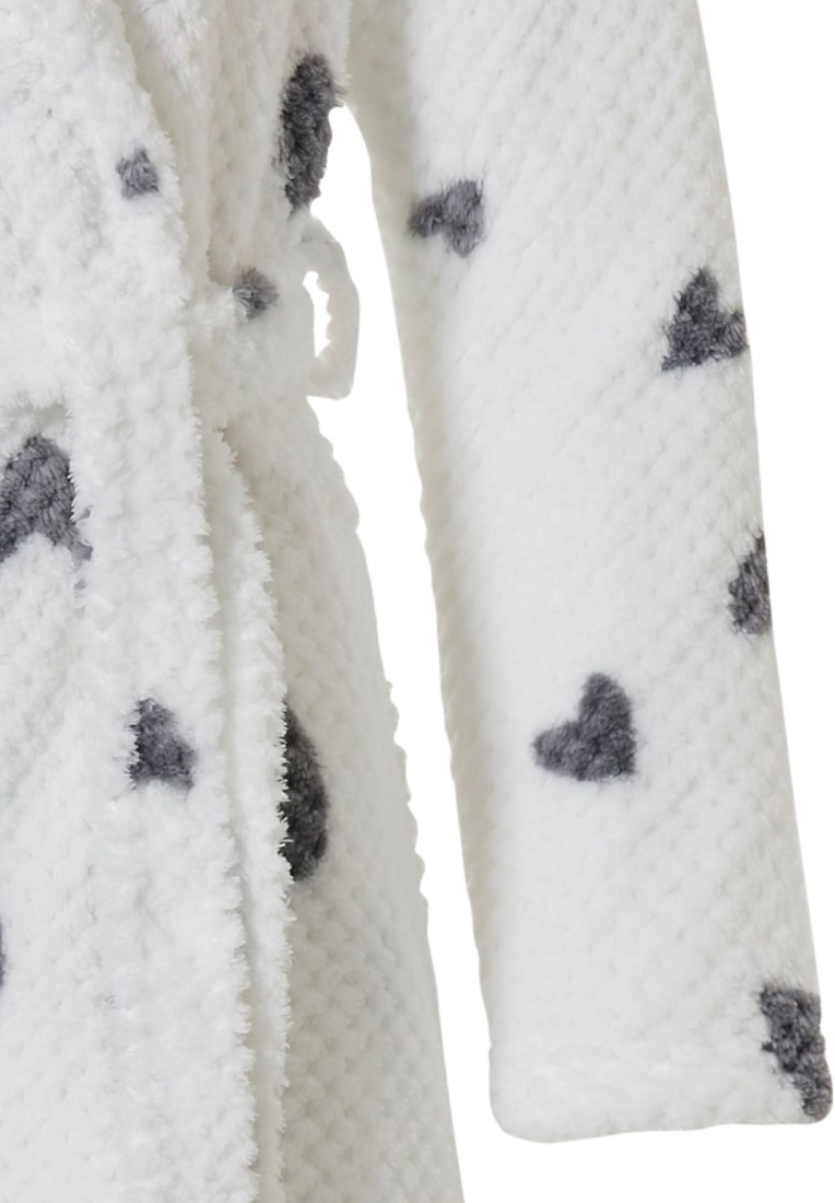 Rebelle 'chic love hearts ♥' snow white & grey soft coral fleece ladies wrap-over dressinggown with shawlcollar, belt two pockets and popular all over 'chic love hearts ♥' pattern