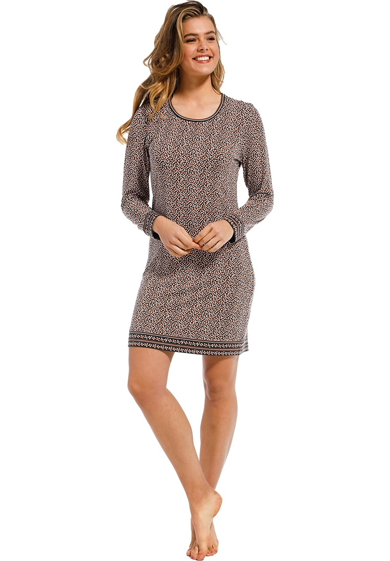 Pastunette Deluxe 'micro dots & circles' dark brown, beige & tawny brown long sleeve cotton-modal nightdress with a modern all over 'micro dots & circles' pattern