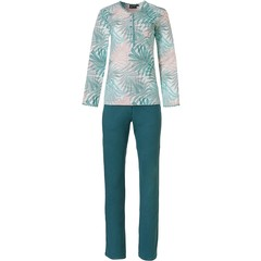 Pastunette Deluxe ladies cotton-modal pyjama set with buttons 'pretty green leaves'
