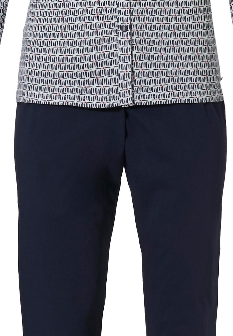 Pastunette 'link it up fashion' white & dark blue long sleeve ladiesfull button cotton pyjama set with modern all over 'link it up fashion' pattern and  long dark blue pants