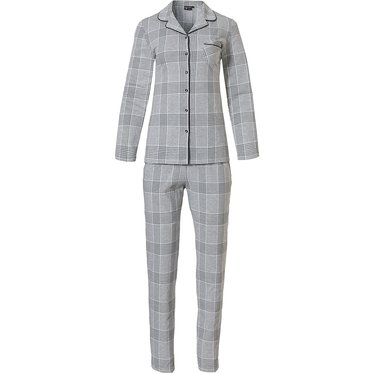 Pastunette Deluxe 'checks in style' light & dark grey long sleeve full button cotton-modal pyjama with revere collar, chest pocket and long matching pants with pockets