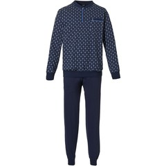 Robson mens cotton pyjama with buttons 'emblem pattern'