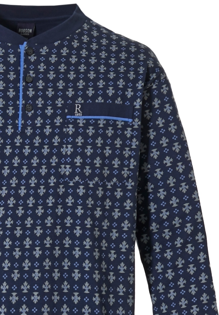 Robson 'emblem pattern' dark blue & grey long sleeve mens cotton pyjama with buttons, chest pocket and long dark blue cuffed pants