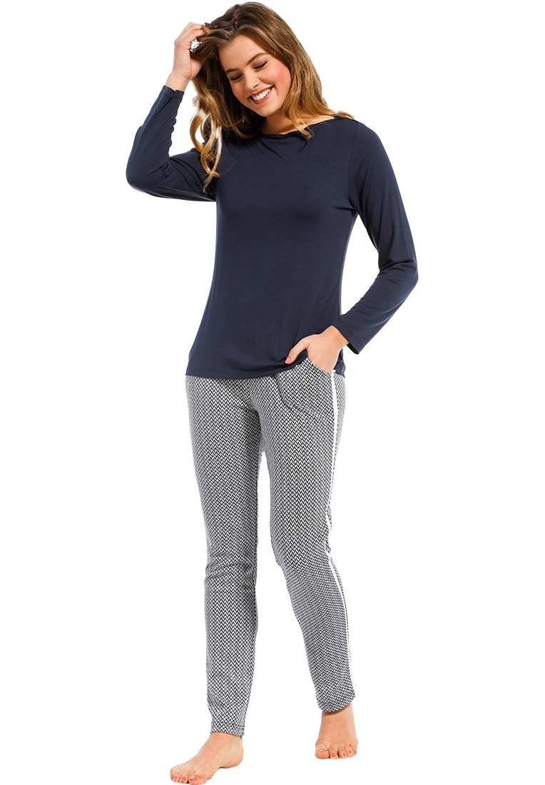 Pastunette Deluxe 'sporty fashion fusion' dark blue & white ladies trendy Mix & Match homewear pants with sporty white side stripe, elasticated waist and pockets