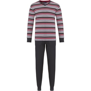 Pastunette for Men 'mixed modern stripes' brown, red & grey long sleeve 100% cotton mens pyjama set with cool 'mixed modern stripes' pattern