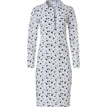 Pastunette 'groovy circles' white, pink & blue ladies long sleeve cotton nightdress with buttons and all over 'groovy circles' pattern