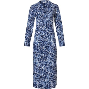 Pastunette 'animal chic fashion' sky blue, white & dark blue long sleeve ladies cotton nightdress with buttons and all over sophisticated 'animal chic fashion' pattern