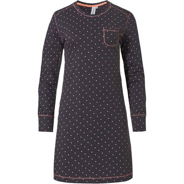 Rebelle 'dotty dreams' dark grey & fresh orange long sleeve cotton nightdress with chest pocket and an all over dottiness