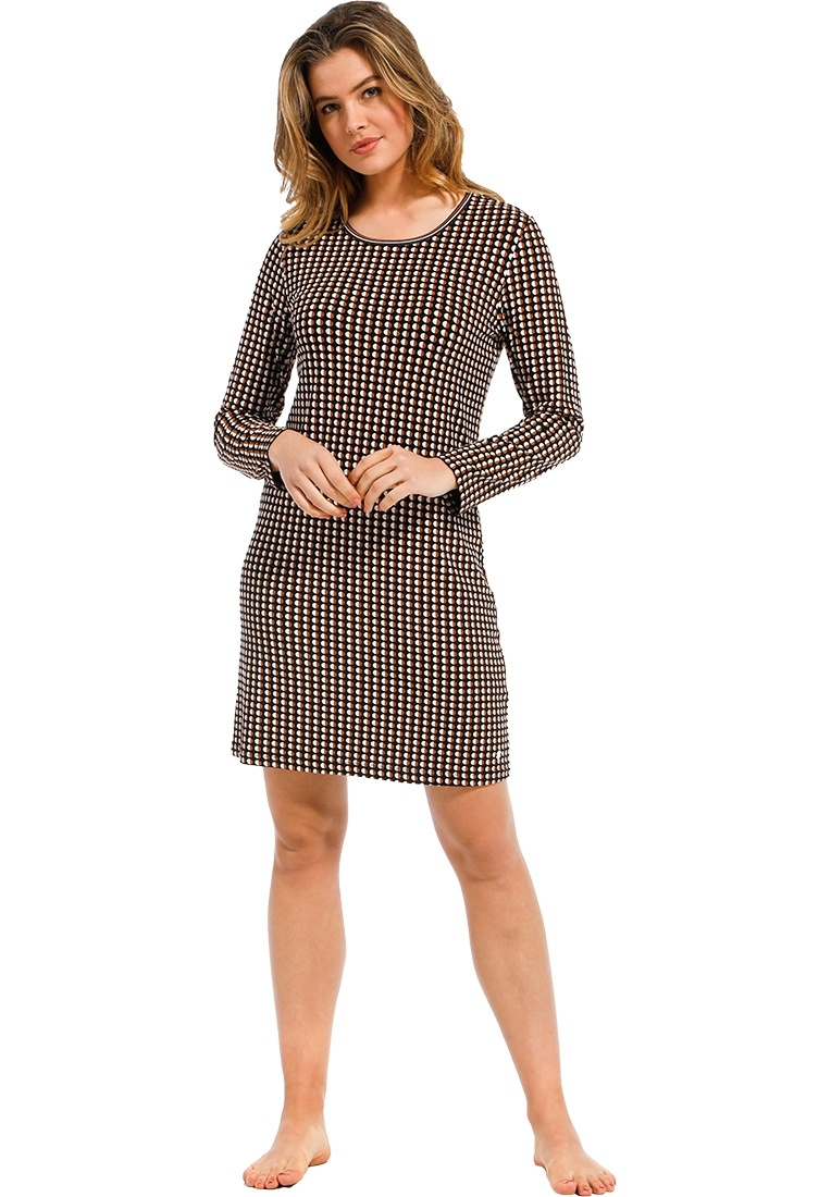 Pastunette Deluxe 'trendy circle lines' dark brown, beige & tawny brown long sleeve cotton-modal nightdress with a modern all over 'trendy circle lines' pattern