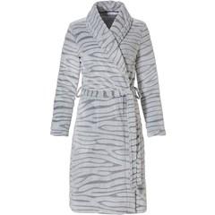 Pastunette grey soft fleece wrap-over morningown 'feminine animal magic'