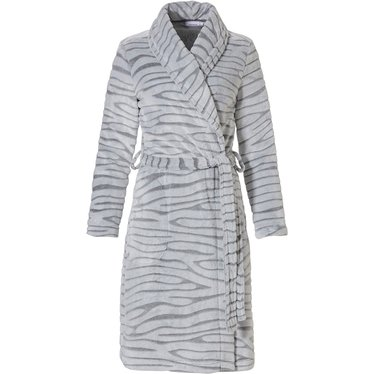 Pastunette 'feminine animal magic' snow-white & soft grey fleece wrap-over cosy morninggown with shawlcollar, belt and two front pockets