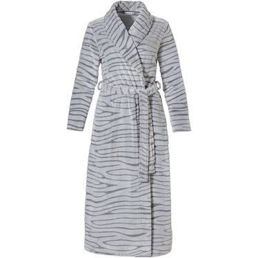 Pastunette 'feminine animal magic' snow-white & grey cosy, fleece extra long wrap-over morninggown with shawlcollar, belt and two front pockets