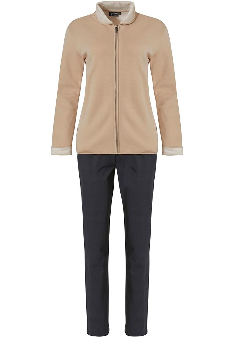 Pastunette Deluxe 'home comfort' sandy brown & dark grey soft homesuit with full zip, collar, little cuffs and long dark grey warm pants
