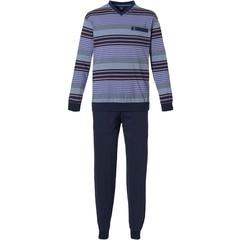 Robson katoenen, blauwe herenpyjama met v-hals 'mixed stripes'