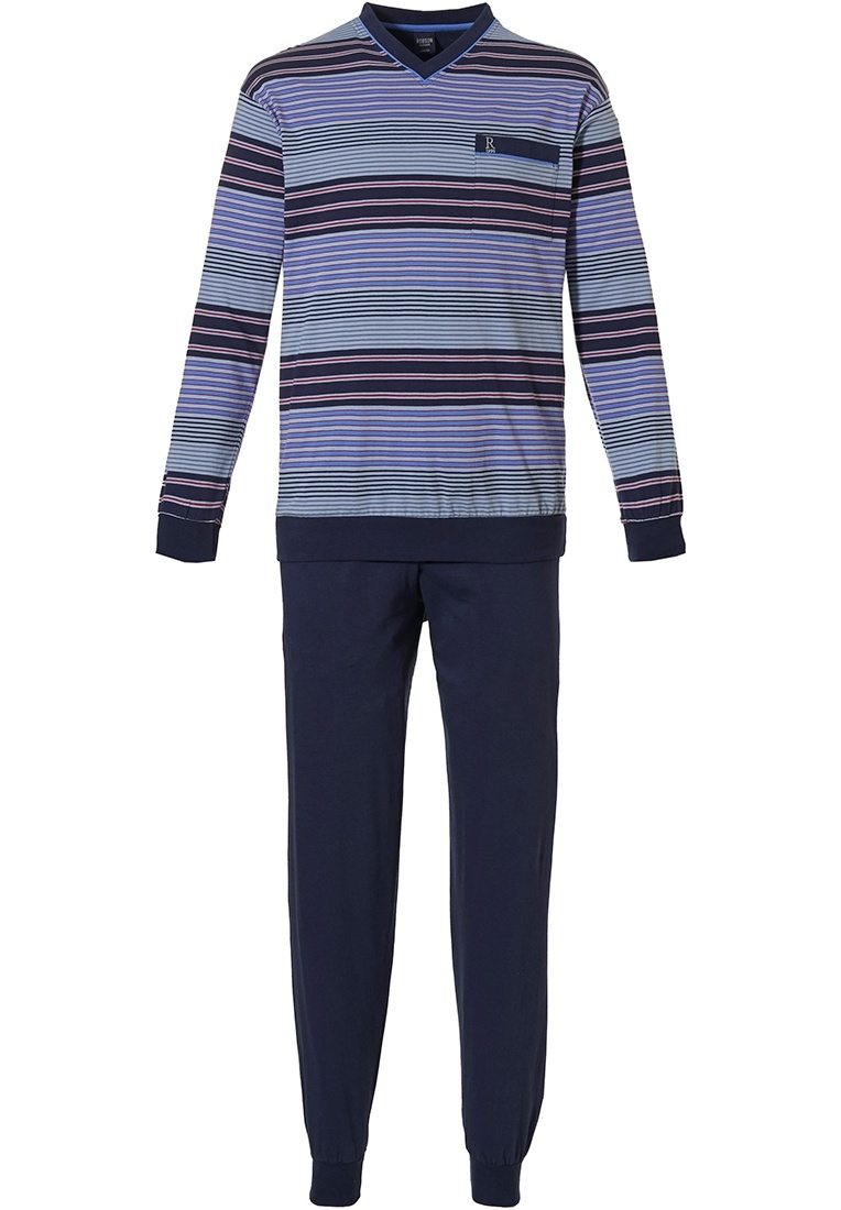 Robson 'mixed stripes' dark blue & red mens 'v' neck long sleeve cotton striped pyjama with chest pocket and long dark blue cuffed pants