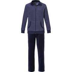 Pastunette for Men men's dark blue terry lounge homesuit with full zip 'a little bit sporty'
