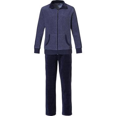 Pastunette for Men 'a little bit sporty' jeansblauw & donkerblauw heren badstof lounge homesuit met ritssluiting en lange, donkerblauwe velours broek