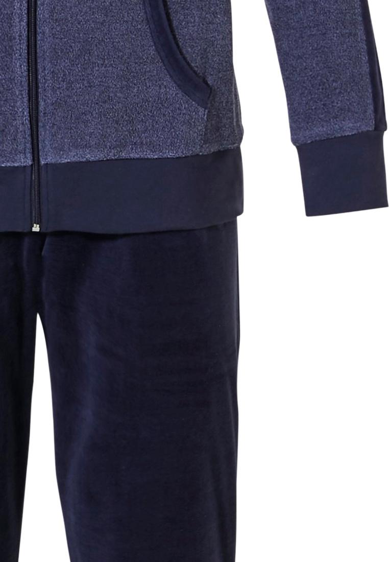 Pastunette for Men  'a little bit sporty' jeansblue & dark blue men's terry lounge homesuit with full zip and long dark blue velvet pants