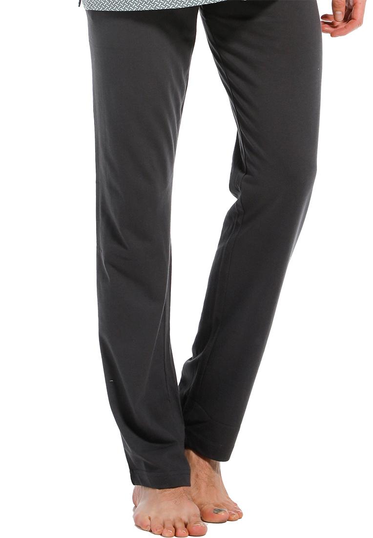 Pastunette for Men men's dark grey Mix & Match long cotton pyjama, lounge style pants with an elasticated tie-waist