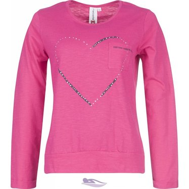 Rebelle Pink long sleeved top with 'diamanté Loveheart'