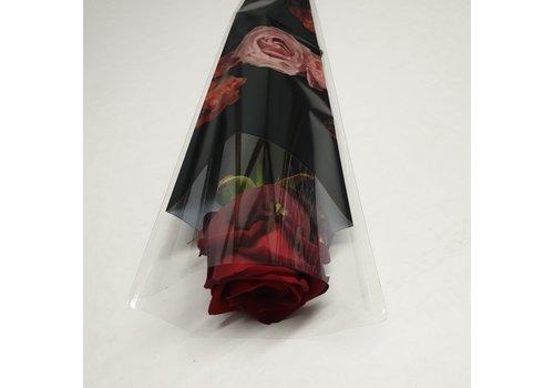 Rozen.nl Rode roos per stuk verpakt in waterflesje in sleeve of cellofaan